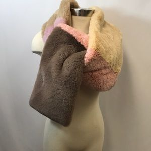 JOCELYN Savage Love Faux Fur  Colorblocked Scarf